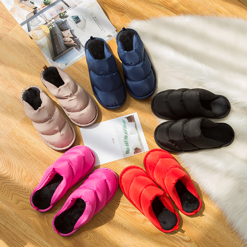 Winter new Korean version of the non-slip soft bottom waterproof down cotton slippers couple home cotton slippers lady a generation of fat (4515403006061)