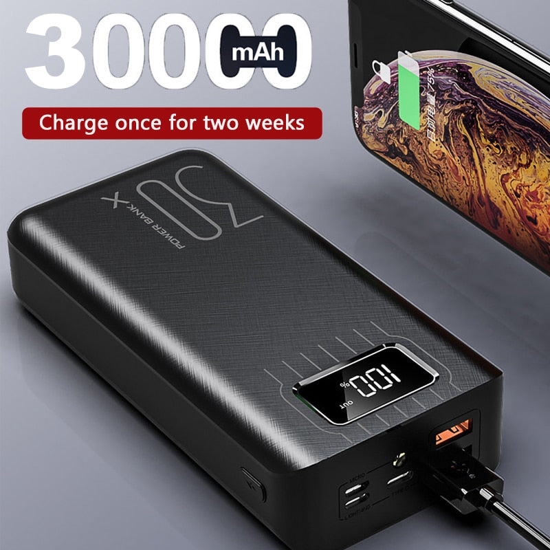 Power Bank 30000mah External Battery TypeC Micro USB QC Fast Charging Powerbank LED Display Portable phone Charger for tablet (4295959740525)