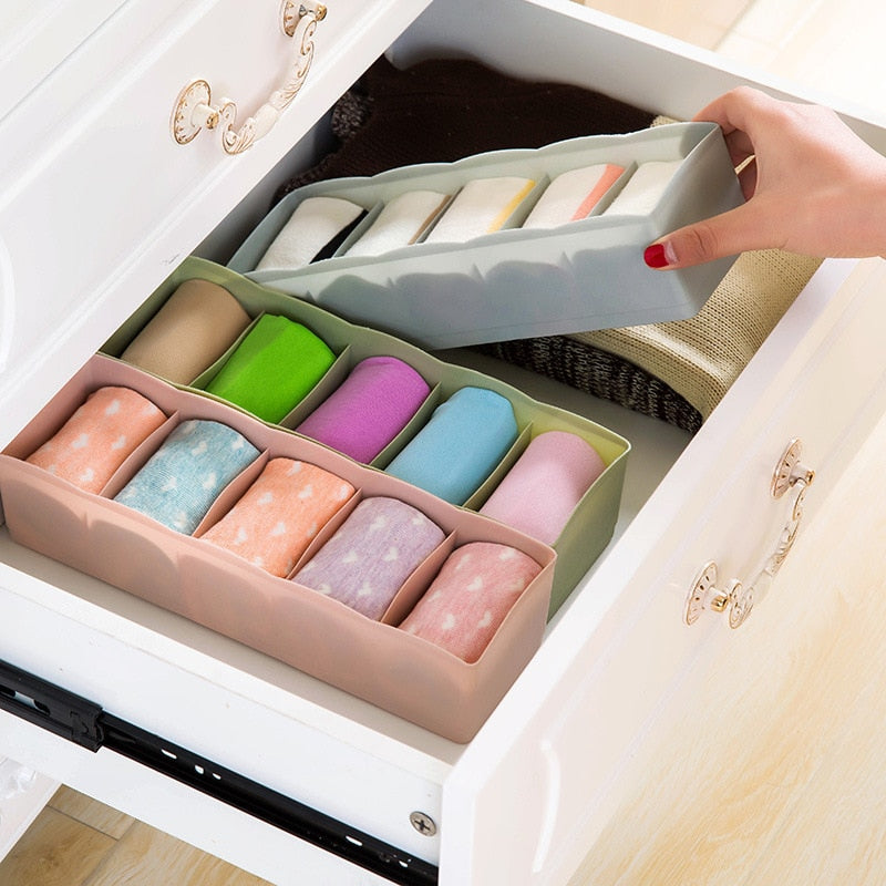 Underwear Container Socks Plastic Stackable Box Storage Bedroom Drawer Organizer Makeup Home Bra Cubes Underwear Compartment PP