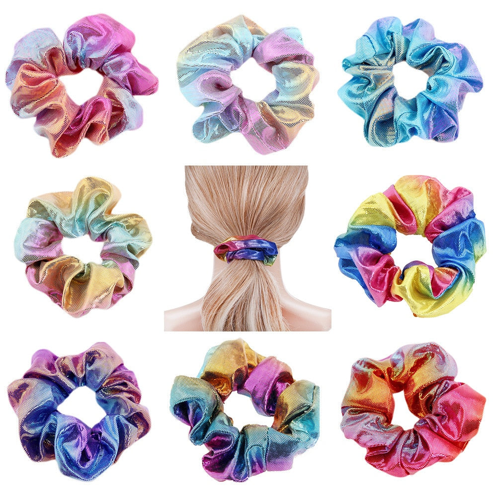 1PC Colorful Hair Accessories For Women/Girl Gradient Elastic Gun Hairbands Ponytail Holder Scrunchies Tie Rubber Hair Rope (4319326011501)