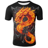 Mens T Shirt Summer Casual O-Neck Short Sleeve Tops Tees Cool Dragons Print T-shirt Streetwear Funny Male Clothing (4297269215341)
