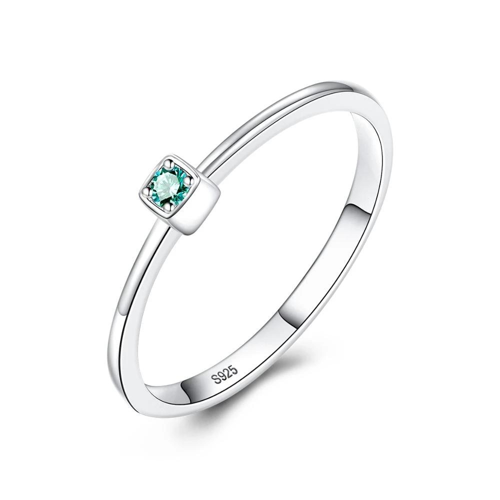 CZCITY Genuine 925 Sterling Silver VVS Green Topaz Wedding Rings for Women Minimalist Thin Circle Gem Rings Jewelry Carving S925 (4319386435693)