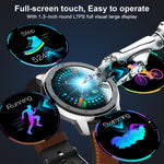 LEMFO ELF2 PPG + ECG Smart Watch 1.3 Inch Full Round Touch Screen 360*360 HD Resolution Stainless Steel Case Strap Replaceable (4320302104685)