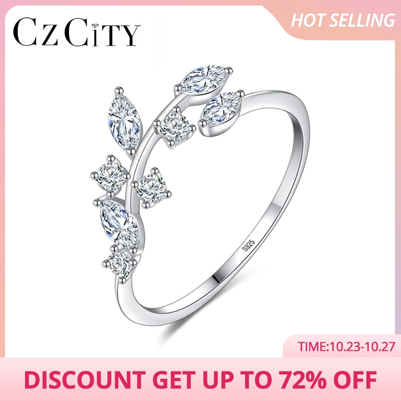 CZCITY Korean 925 Sterling Silver Handmade Olive Leaf Rings for Women Exquisite CZ Stone Adjustable Open Ring Silver 925 Jewelry (4318943543405)