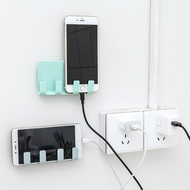 Stick Up Style Wall Cell Phone Bracket 4 Colors Mobile Phone Charging Holder for Wall Traceless 4 Hook Receiving Hanger Bracket (4318942462061)