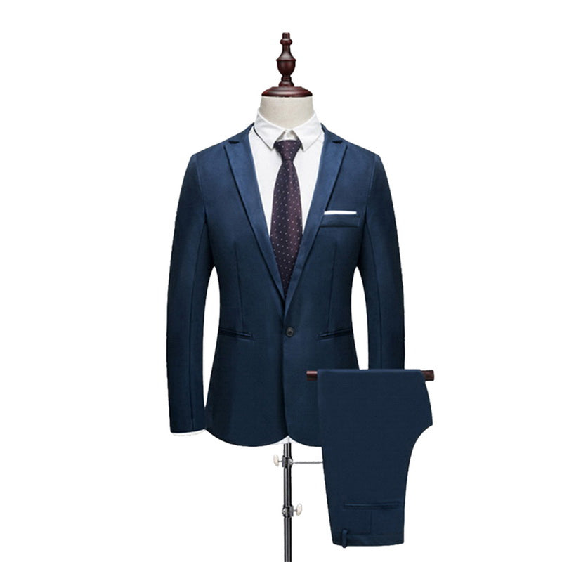 (កម្មង់មុន)- Male Spring And Autumn Thin Section Pure Color Groom Tuxedos Wedding Suits (Jacket+ Pant) Casual Slim Fit 2 Pieces (4321567703149)