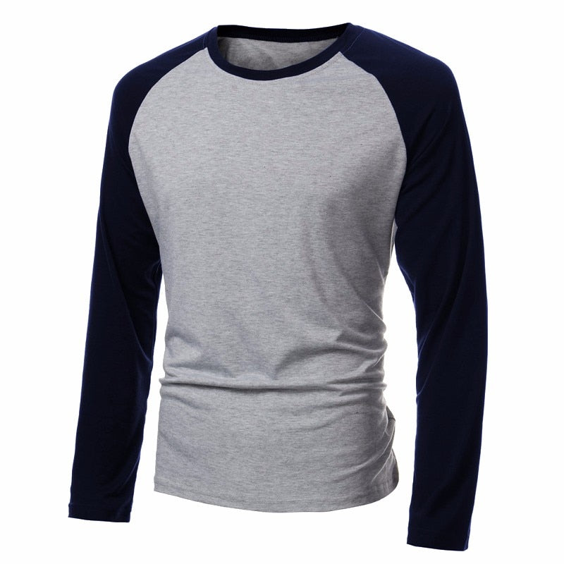 Spring Men's Long Sleeve T Shirt Patchwork O-neck Streetwear Baseball Casual T-shirts Fashion Men Tee Tops Plus Size 4XL 2019 (4297278455917)
