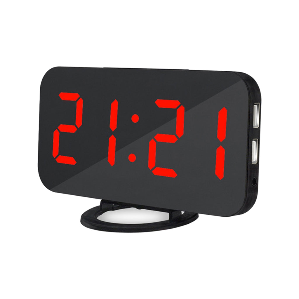 FUNN-Easy Snooze Time Setting LED Mirror Digital Alarm Dual USB Port Charging Station Phone Charger (4317100179565)