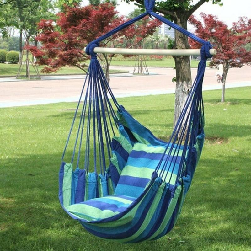 Portable Hammock Chair Outdoor Garden Hammock Hanging Chair for Home Travel Camping Hiking Swing Canvas Stripe Hammock Swings (4298488348781)