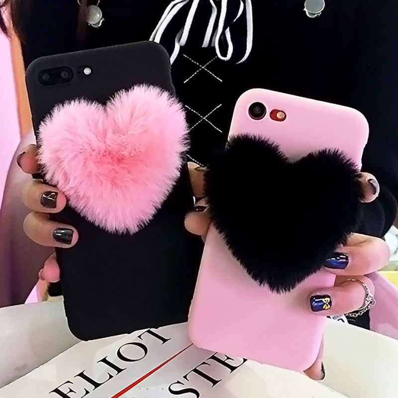 Lovely 3D Furry Love Hearts Cute hair Phone Case For Samsung Galaxy A10 A20 A30 A40 A50 A60 A70 S10 S10lite M10 M20 M30 soft TPU (4312596349037)