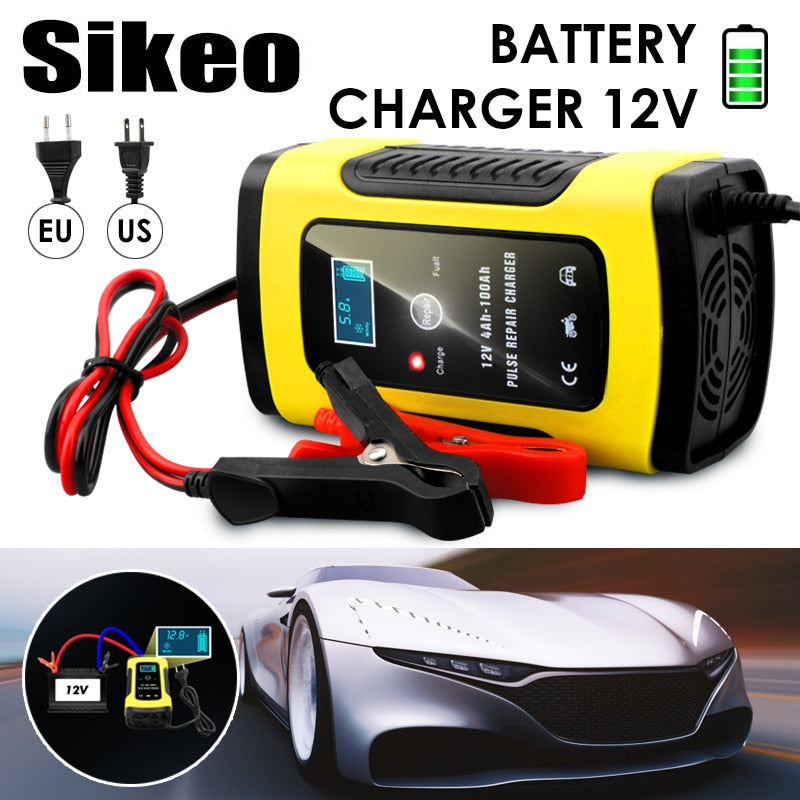 Full Automatic Car Battery Charger 110V To 220V To 12V 6A LCD Smart Fast for Auto Motorcycle Lead-Acid Batteries Charging (4317096476781)
