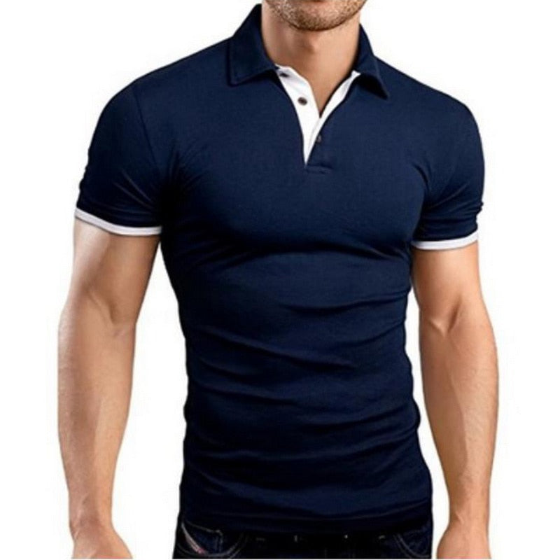 NIBESSER Mens Polo Shirt 2019 New Summer Short Sleeve Turn-over Collar Slim Tops Casual Breathable Solid Color Business Shirt (4297290711149)