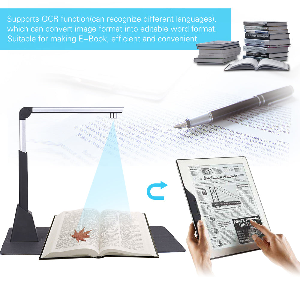 CMOS 10 Megapixel Document Scanner A3 A4 Book Scanner with OCR Function High Resolution Camera Scanner Documents for Office (4296314585197)