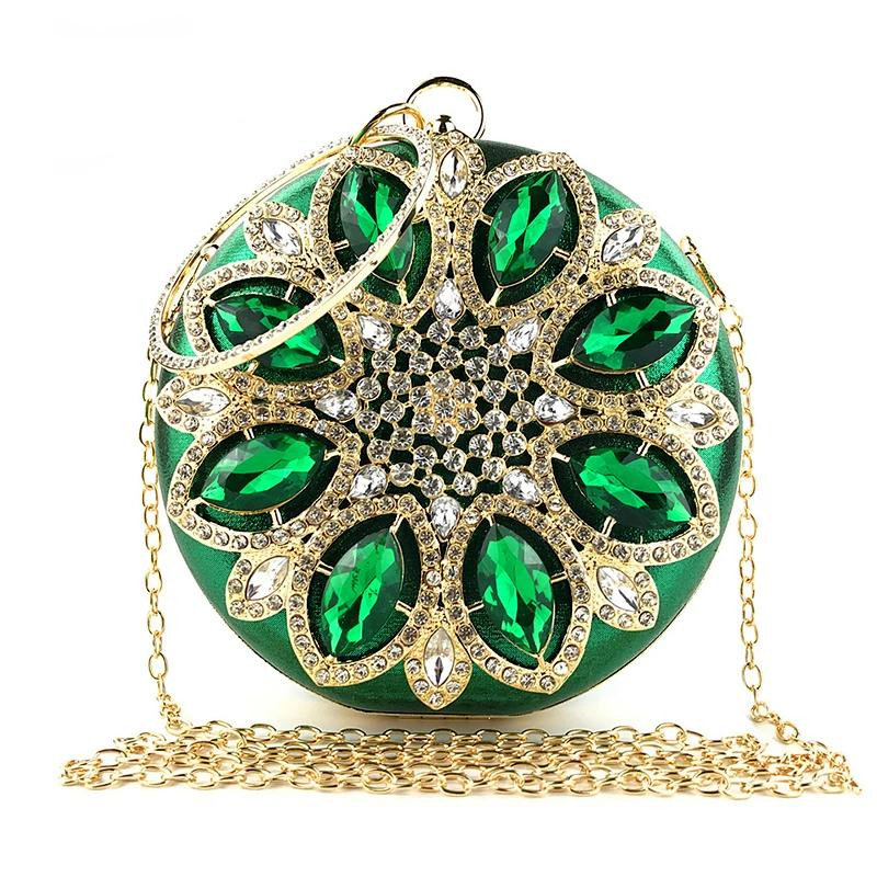 Green Clutch Purse Women Round Clutch Bag Crystal Bridal Wedding Purse and Handbag Exquisite Chain Shoulder Bag Party Bag ZD1244 (4317101752429)