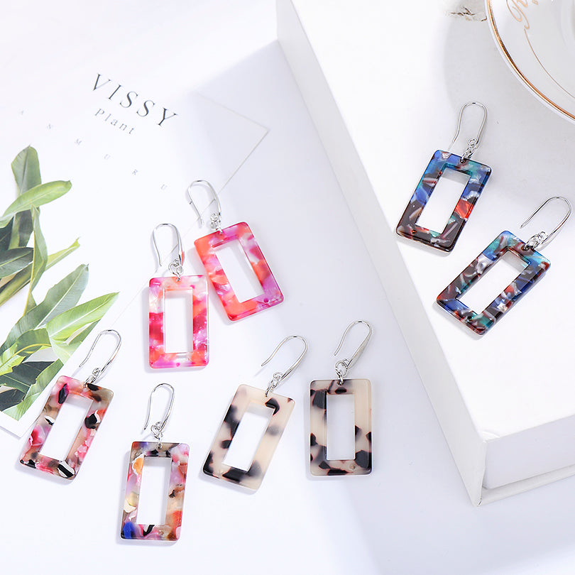 Boho Style Multicolor Acrylic Resin Drop Earrings For Women Trendy Big Round Geometric Dangle Earring Female Jewelry Gifts (4314856161389)