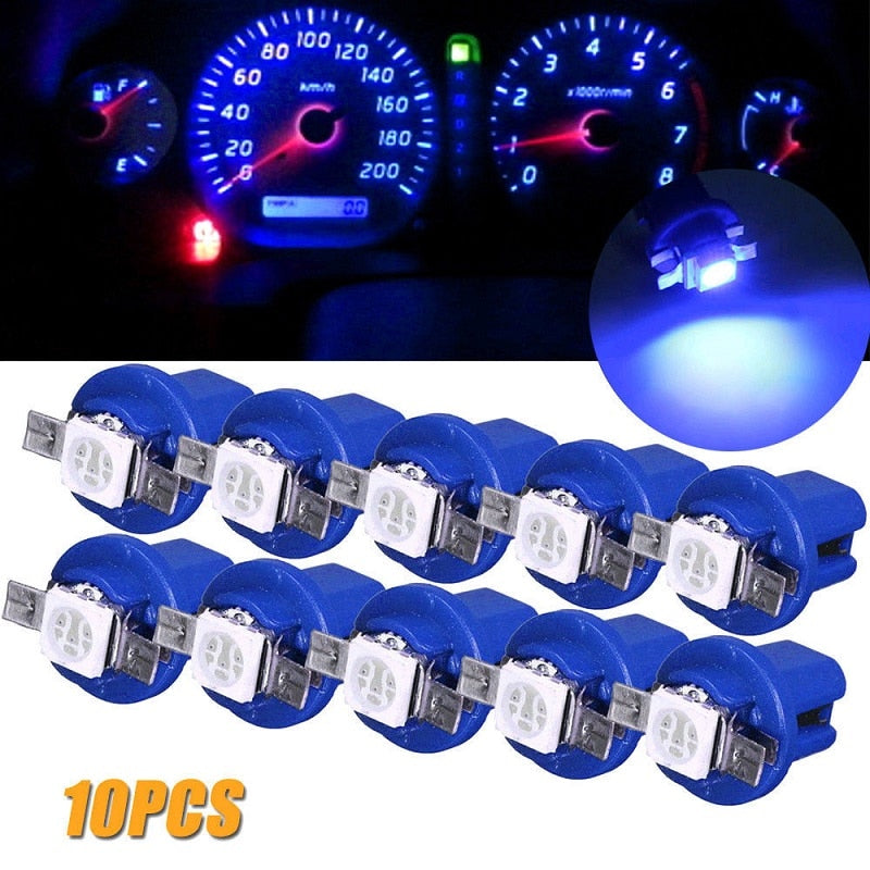 10pcs T5 B8.5D 5050 Car Interior Ceramic Dashboard Gauge Instrument Light Bulbs 1SMD Blue DC 12V Auto Side Wedge Lamp (4317097001069)