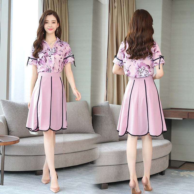 summer new pink printing blouse top & skirt two pcs clothing set women chiffon dress suit brand design vogue lady outfit SALE ! (4312604344429)