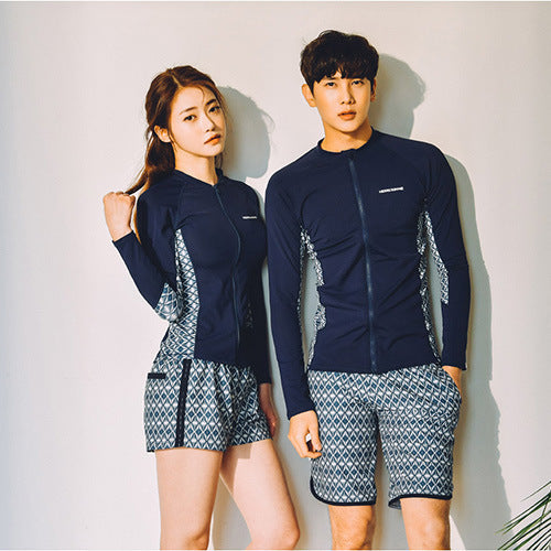 Swimming Clothes For Women Swimsuit Korea Surf Swimwear Indoor Rash Guard Clothing Diving Korean Zipper Couple Long Sleeve 2019 (4296075673709)