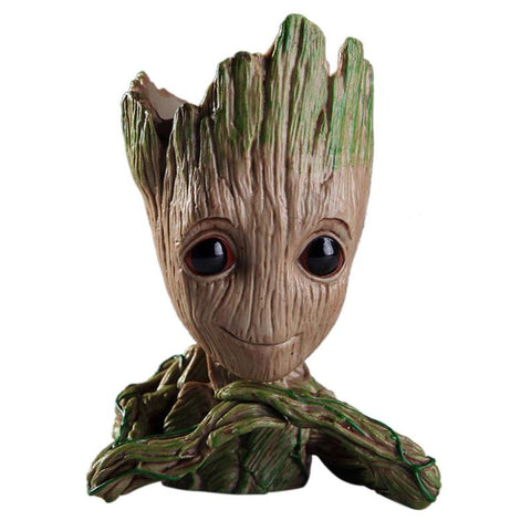 (កម្មង់មុន)-Flowerpot Fashion Vinyl Baby Groot Pen Pot Holder Plants Flower Pot Cute Action Figures Toys for Kids Gift Desktop Decoration (4317101195373)