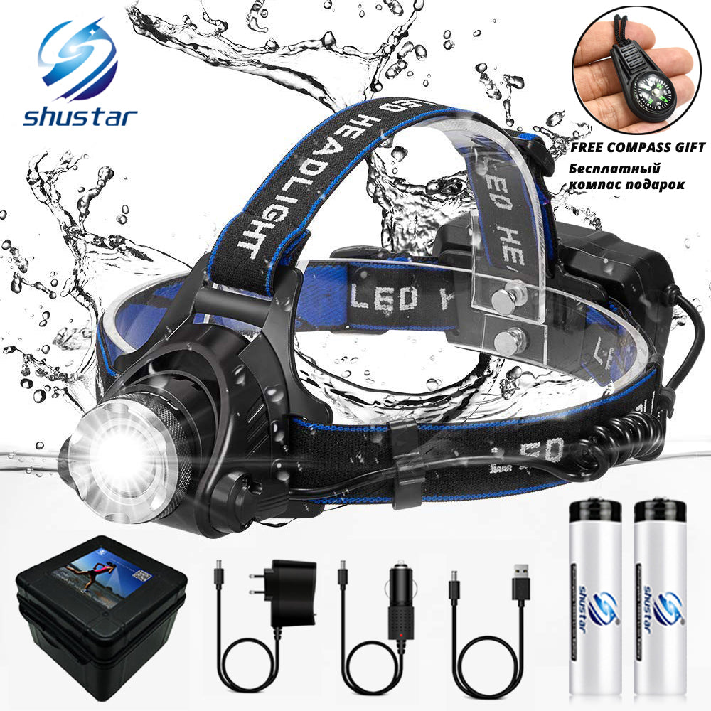LED headlamp fishing headlight T6/L2/V6 3 modes Zoomable lamp Waterproof Head Torch flashlight Head lamp use 18650 For camping (4296396898413)