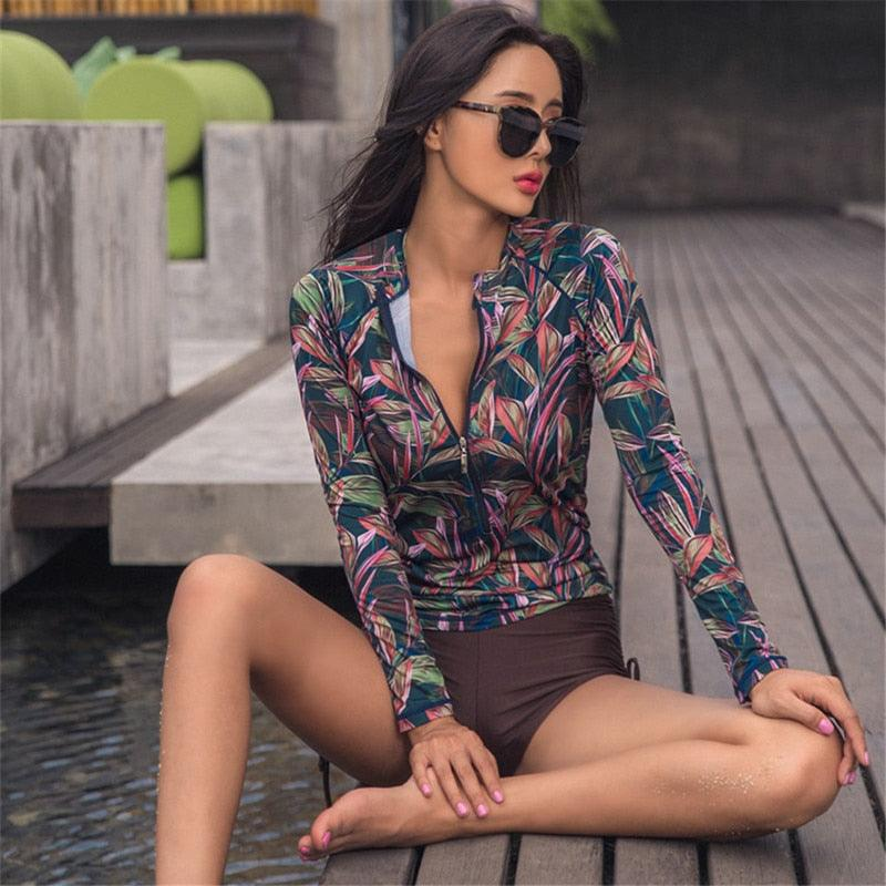 Woman Swimsuit 2019 Swimsuits For Women Summer Rash Guard Swimwear Clothing Diving Long Sleeve Inner Cover Movement Dot (4296094875757)
