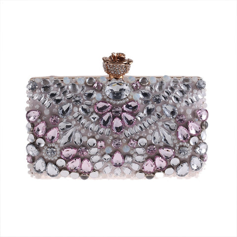(កម្មង់មុន)-New Rhinestone Evening Bags Women diamond clutches Pearls Beaded Day Clutch Purses Handbag Wallet Lady Evening Party Wedding Bag (Pink) (4316986245229)