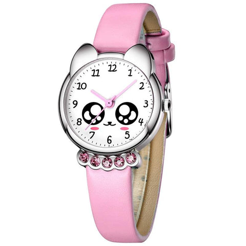 (កម្មង់មុន)-នាឡិកាកុមារ- Girl Watch Kids Cute Leather Strap Watches Rhinestone Waterproof (4190982439021)