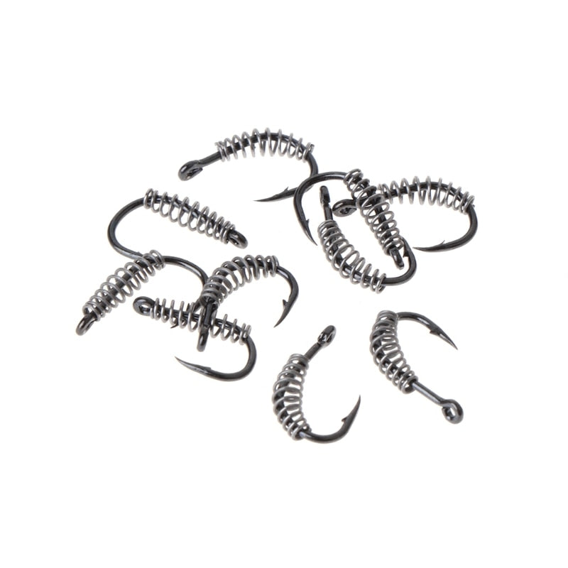 2018 10pcs Fishing Spring Hook Explosion 13Size Barbed Stainless Steel Rotating Carp #0626 AUG6_33 (4320289292397)