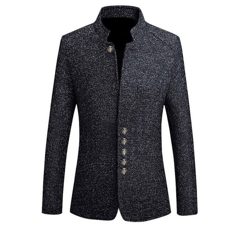 MJARTORIA Mens Vintage Blazer Coats Chinese Style Business Dress Blazers Casual Stand Collar Jackets Male Slim Fit Suit Jacket (4321492303981)