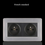 (កម្មង់មុន)-86 Type 1 2 3 4 Gang 1 2 Way Household Switch EU France Socket Wall Lamp Switch with LED Stainless Steel Mirror switches 86*86mm (4298513023085)