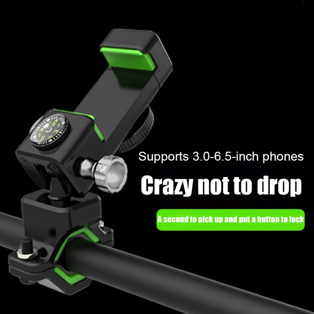 Bike Phone Mount 360° Rotating Waterproof Bicycle Handlebar Holder With Compass And LED For IPhon 11/X/XR/8 3-6.5in Phone GPS