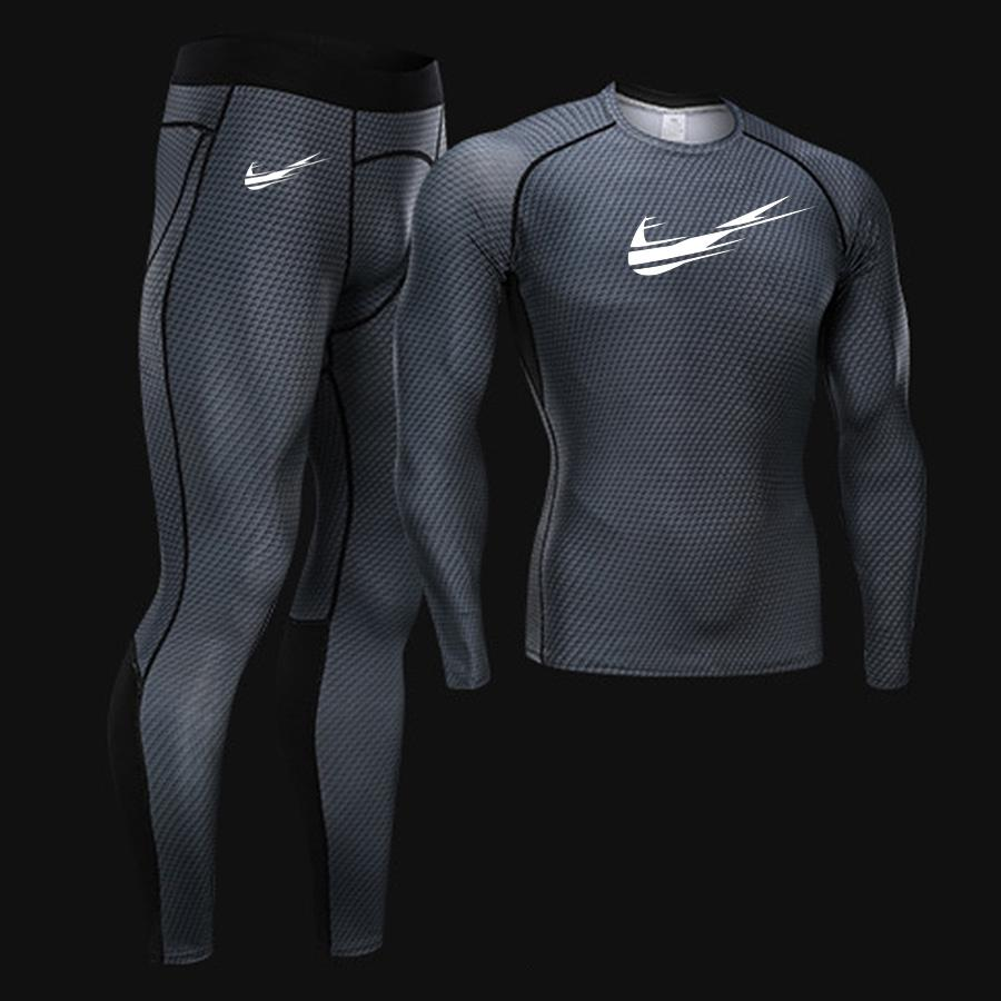 New Jogging Thermal Underwear Set Quick-drying Training T-shirt Leggings tracksuit Suit 2019 Autumn Winter New Sportswear Brand (4297322987629)