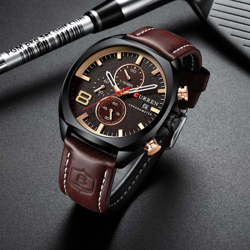 នាឡិកាបុរស Europe and the United States wind business bully fashion trend men waterproof watch student leather personality large dial quartz watch