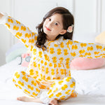 Girls cotton long-sleeved pajamas female (4515398778989)