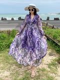 Sanya seaside resort skirt beach dress female 2019 new long-sleeved dress was thin summer dress over a long section of ankle (4450301050989)