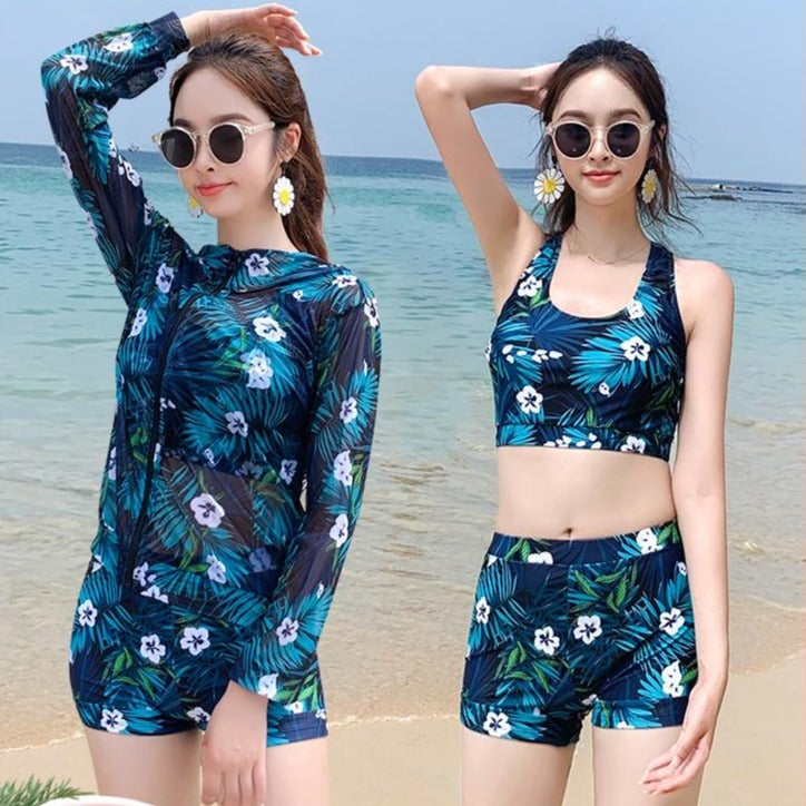 2020 new net red couple swimsuit lady belly cover thin three-piece set long-sleeved sun protection men's awkward swimming trunks
