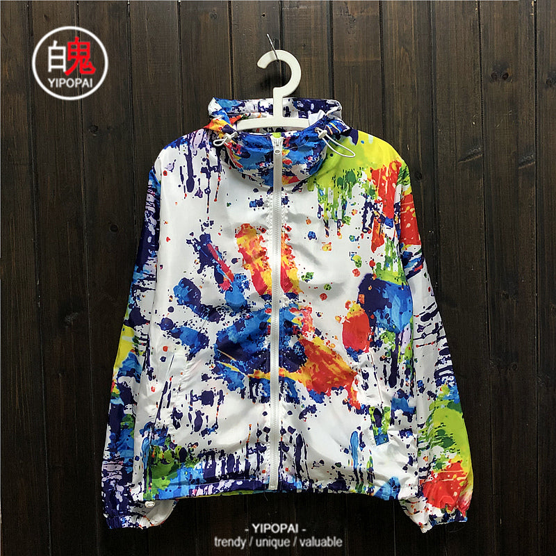 New rainbow 3D watercolor painting jacket