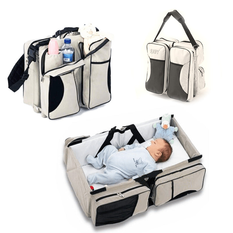 Foldable portable multifunction portable crib bed bulk bag mummy mother bag 2 in a travel bag (4520797864045)