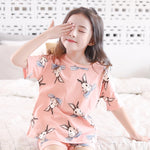 Girls summer cotton pajamas tracksuit thin section cotton children's clothing children's pajamas baby girl short sleeve air conditioning service (4513995784301)