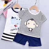 Children's sleepwear cotton baby boys and girls short-sleeved tracksuit (4513947811949)