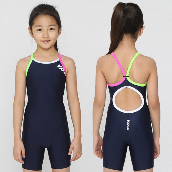 HOOGAuthentic girls professional competition training five points in the body leg speed dry low resistance children's swimsuit (4259751395437)
