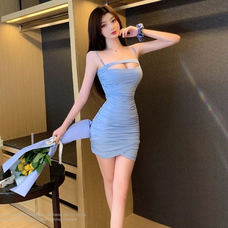 Summer 2020 new temperament sexy sling skirt with a slim bag hip short pleated dress women's dress