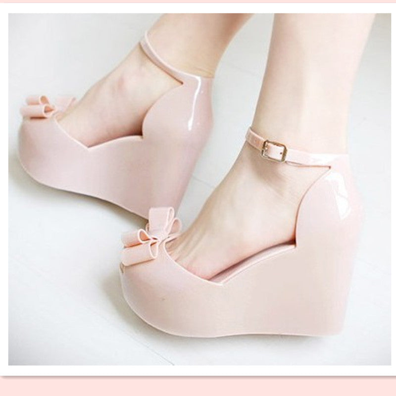 New women's summer sandals Korean fish head jelly sandals, platform shoes muffin slope with plastic high-heeled shoes students (4456867463277)