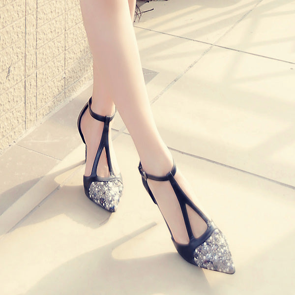 Leather 2019 spring and summer new leather hollow pointed heels fine with sexy sandals with rhinestone shoes T (4513855996013)