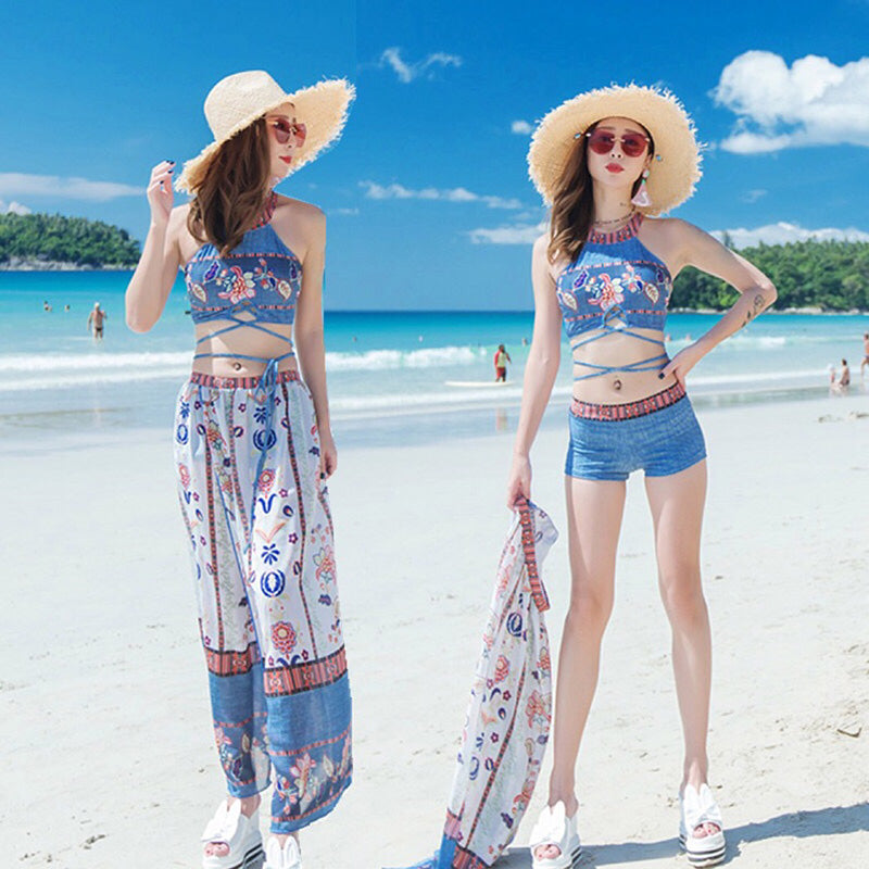 ប៊ីគីនីនារី Bohmia blue beach hooded swimsuit women's long skirt conservative belly thin bikini three-piece set flat corner