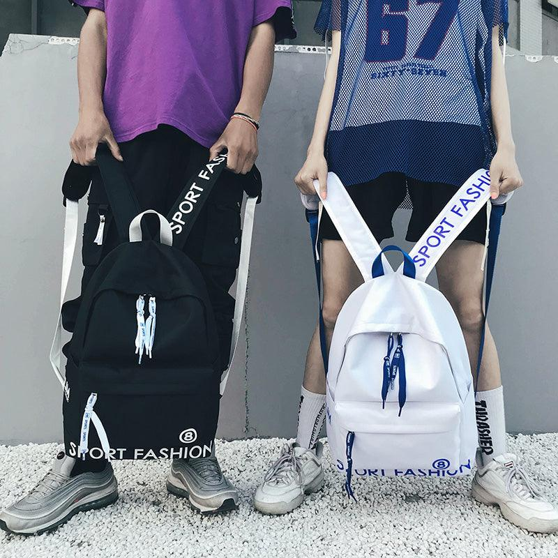 insSchoolbag men's and women's Korean version original accommodation ulzzang junior high school students backpack fashion trend Canvas Backpack (4285679337581)