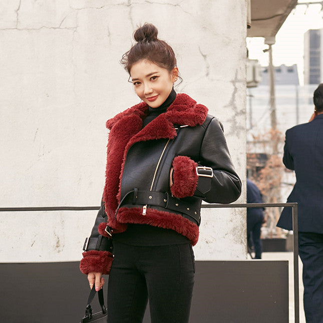 Korea winter lambs wool coat female short thin leather motorcycle stand collar (4516036640877)