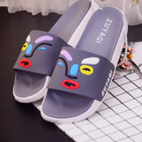 Female summer home slippers indoor soft bottom non-slip bath home bathroom lovely flat sandals and slippers summer male lovers (4514532950125)