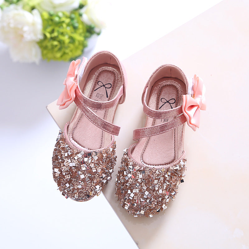 Girls sandals princess shoes, children shoes spring and summer 2019 new Korean baby girls shoes sequined shoes half sandals (4515396419693)