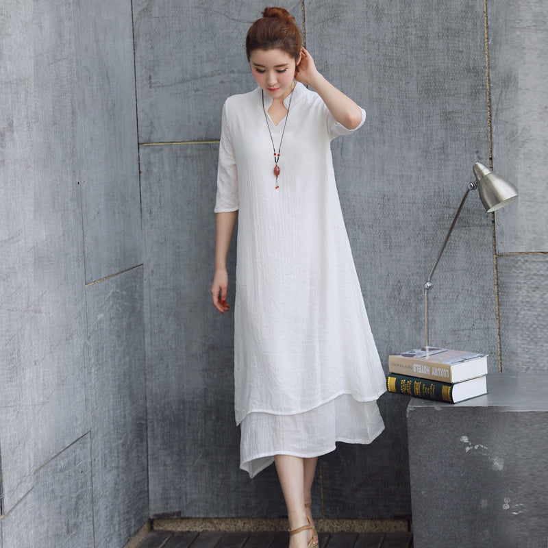 Solid double dress summer women's national wind linen skirt loose fifth sleeve dress fairy There Belt (4457028780141)
